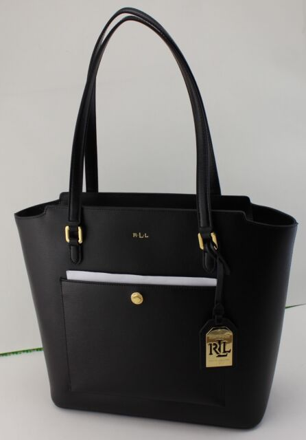 5012132a0255 NEW AUTHENTIC RALPH LAUREN LOWELL MOD POCKET BLACK TOTE LEATHER WOMEN'S  HANDBAG