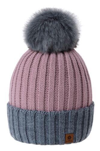 Donna Cappello Inverno Invernali per Bambine Lavorato a Maglia Moda Pom Pile