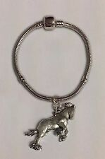 code A37 Shire Horse charm on a silver Rhodium Plated Snake Bracelet