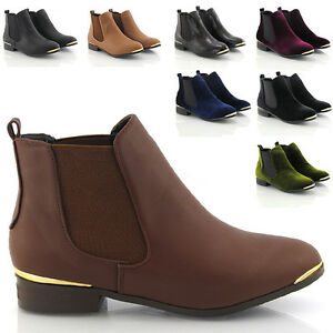 Ladies-Pull-On-Flat-Low-Heel-Chelsea-Gold-Trim-Riding-Womens-Ankle-Shoe-Boots