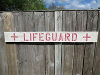 48 Inch Wood Hand Painted Lifeguard Sign Nautical Seafood (s479)