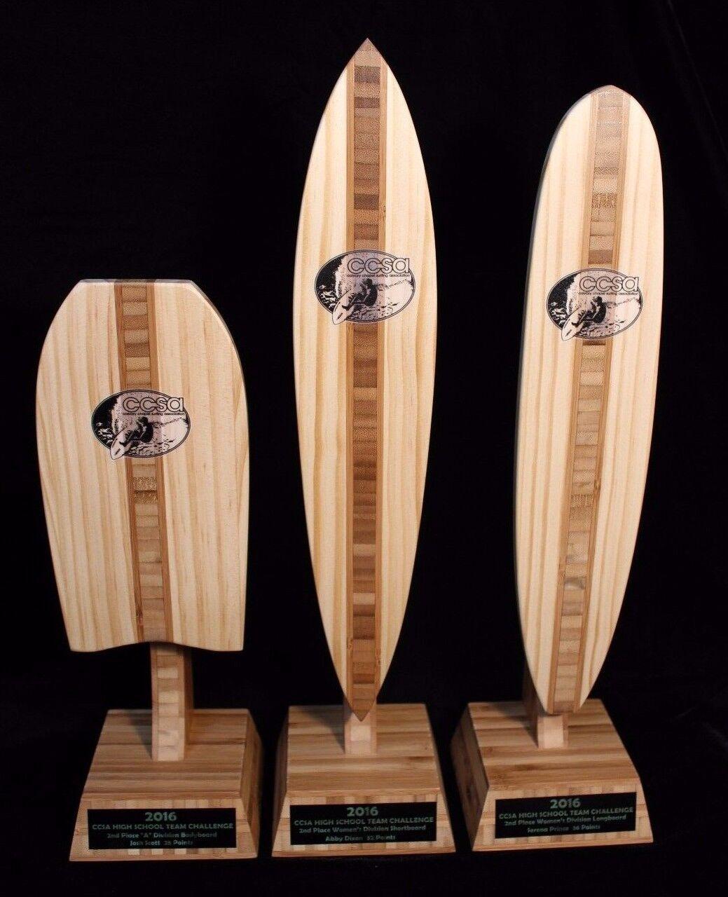 Placa de bambú Personalizado Surf trofeo Pintail Longboard Bodyboard por Dave C Reynolds