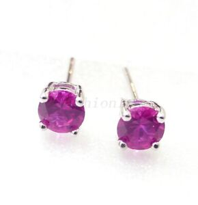 Details About Small Stud Earrings Red Ruby Simulated Diamond Clic White Gold Plated 4mm Uk