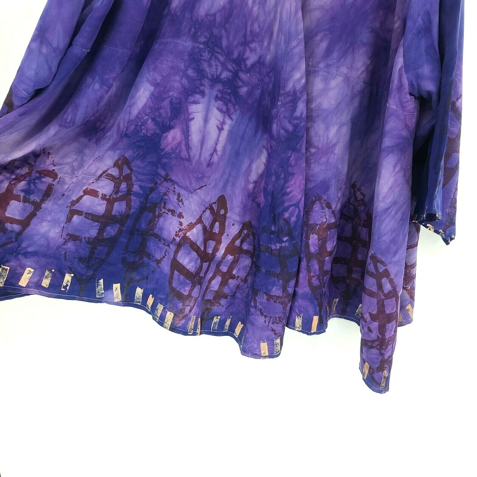 Laise Adzer womens Vintage 1980's Hand Painted Si… - image 7