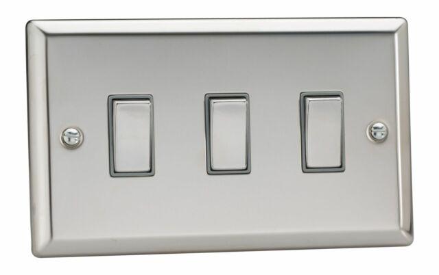 VARILIGHT Classic 3 Gang 10a 1 or 2 Way Rocker Light Switch - Mirror Chrome