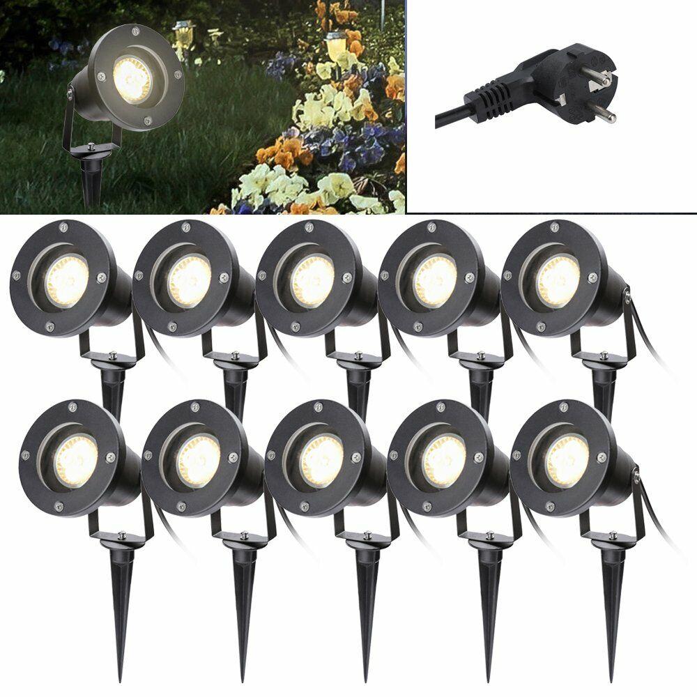 10X LED Gartenstrahler Bodenleuchte Wegbeleuchtung Außenleuchte Strahler Garten