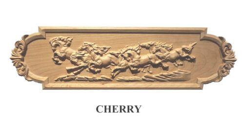 "Hand Carved Solid Hardwood Fireplace Decor Applique Over 18/"" long"