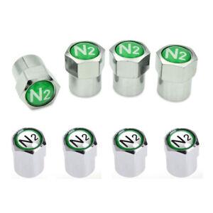 4PCS NITROGEN N2 VALVE STEM CAP//CAPS WHEEL TIRE CHROME SLIVER Universal