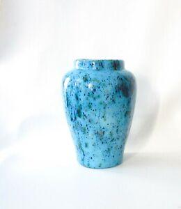 Vintage-Ceramic-Blue-Splatter-Vase-Ginger-Jar-Handmade-Turquoise-Yellow-Green