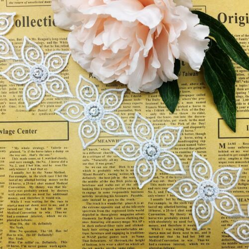 10X Vintage Chiffon Flower Embroidered Lace Trim Ribbon Applique  Sewing Craft