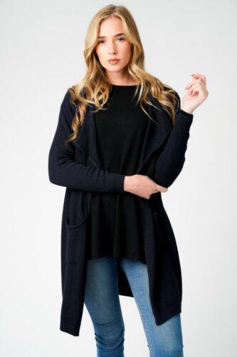 New Ladies Lagenlook Warm Winter Soft Knit Wool Mix 2 Pocket Waterfall Cardigan