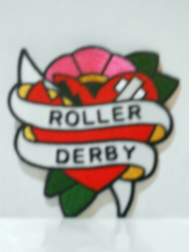 ADAM POTTS ROLLER DERBY BANDAGED HEART EMBROIDERED PATCH 3 1/2X3 1/2 NEW