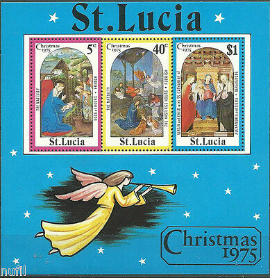 St. Lucia scott # 378a ** MNH Navidad / Christmas 1975