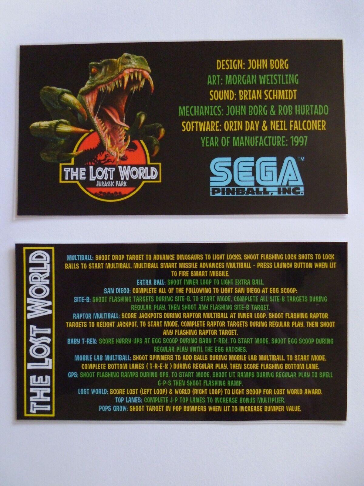 * 'THE LOST WORLD JURASSIC PARK' Sega 1997 Custom Instruction/Apron Cards (New)*
