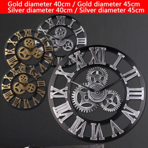 Vintage Three-dimensional Wooden Gear Clock Retro Style 40cm 45cm Large