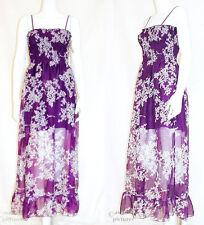 MAXIKLEID Blumen NEU lila bodenlanges Sommer Kleid Boho Empire Hippie Blümchen