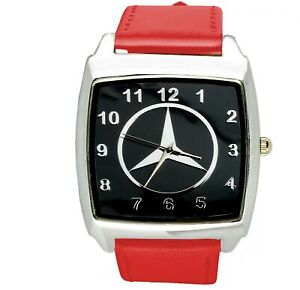 Mercedes-Benz-3d-chrome-square-sport-watch-RED-real-leather-strap