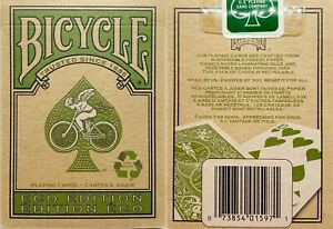 NEW-SEALED-Bicycle-Eco-Edition-Playing-Cards-Poker-Size-Deck-Green-Recyclable