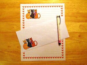 Cartoon-Cats-Stationery-12-Sheets-6-Envelopes-Lined-Stationary