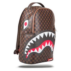 Sprayground-NEW-Unisex-Sleek-Sharks-in-Paris-Backpack-Brown-BNWT