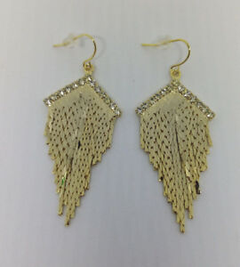 Formal-Gold-plated-Fringed-Clear-Rhinestone-Earring