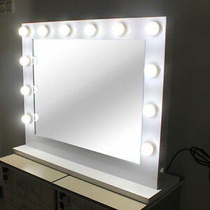 Lighted makeup vanity mirror aluminum dimmer whitefree 14 led bulbs image is loading lighted makeup vanity mirror aluminum dimmer white free aloadofball Image collections