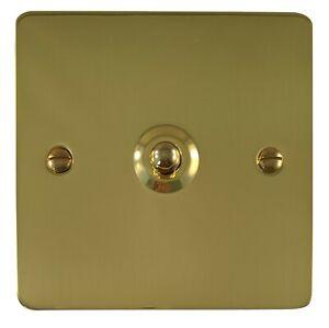 Flat Plate//Polished Brass 10A 2 Way 1 Gang Light Switch