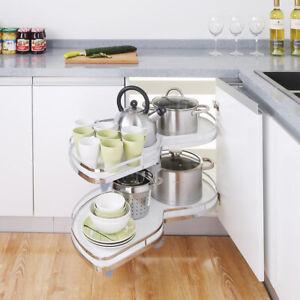 Kitchen Blind Corner Unit Carousel Twin Shelf Trays Pull Out Basket 900mm 1000mm Ebay