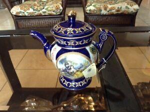 Antique-Limoge-Venetian-Lagoon-fine-Blue-Porcelain-Teapot