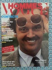 VOGUE HOMMES 67 Mars 1984 Jack Nicholson Mode - France - État : Bon état: Livre ayant déj été lu, mais qui est toujours en bon état. La couverture présente des dommages mineurs, comme des éraflures, mais n'est ni trouée ni déchirée. Pour les couvertures rigides, la jaquette n'est pas nécess - France