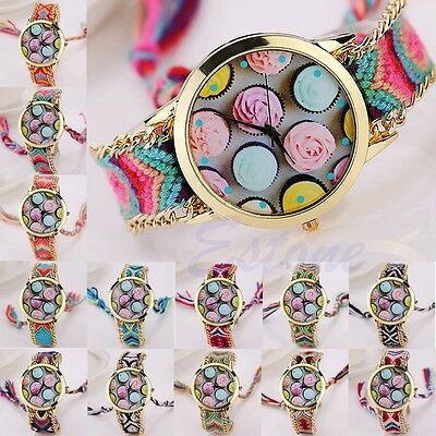 Women Classic Rose Cupcake Braided Round Dial Chain Bracelet Quartz Wrist Watch