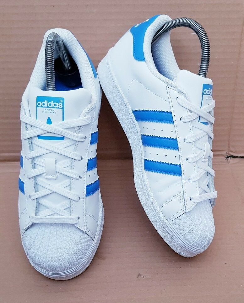 ADIDAS SUPERSTAR ORIGINALS Bleu & blanc SHELL TOE TRAINERS Taille 5EXCELLENT