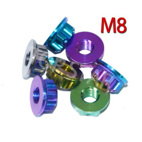 2 x Ti Axle Nut M8 Hexagon Titanium Flange Nut Motorcycle Rear Axle Ti Fastener