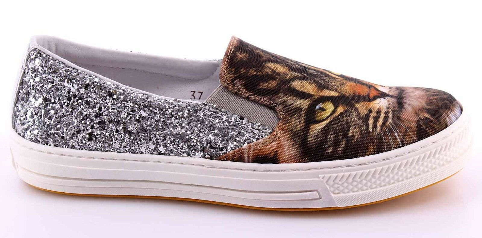 Zapatos promocionales para hombres y mujeres Scarpe Sneakers Slip On Donna CHANGE! GattinoW Raso Bianco Glitter Argento Italy