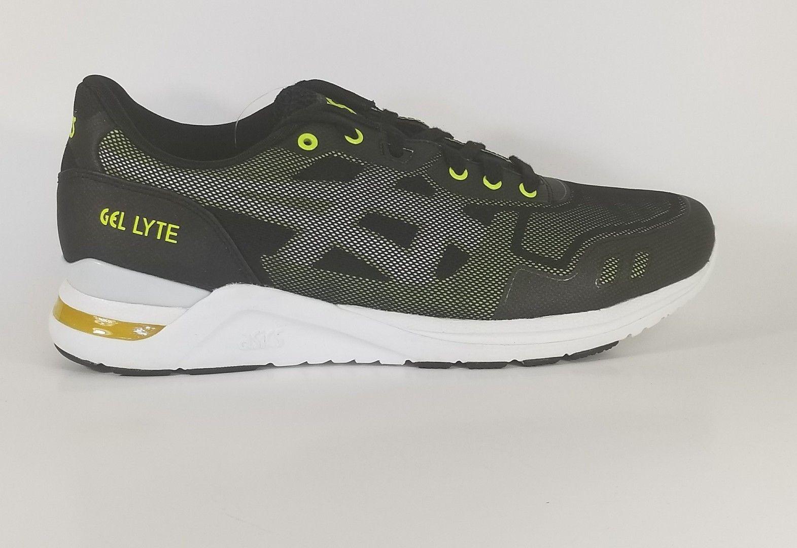 Men's New ASICS Gel-Lyte Evo Training Shoe Black/Yellow Sz 9