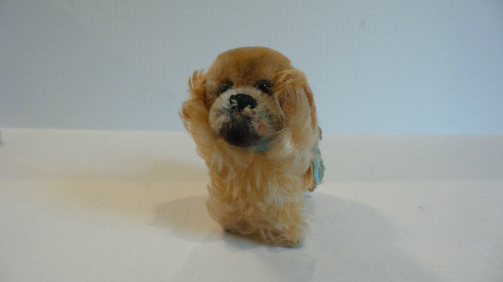 CUTE VINTAGE 1960's STEIFF MINIATURE 4  MOHAIR  PEKY  PEKINESE DOG w  BUTTON
