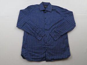 Mens-azul-purpura-a-rayas-de-Neiman-Marcus-Vestido-Camisa-Grande-Manga-Larga-Botones