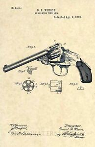 Official-Wesson-US-Patent-Art-Print-Vintage-Original-Revolver-Antique-246