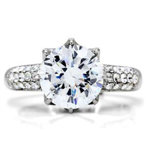 Details about  /10mm 6.4 Ct 316 Stainless Steel April Clear CZ Stone Lady Engagement Ring Size 5