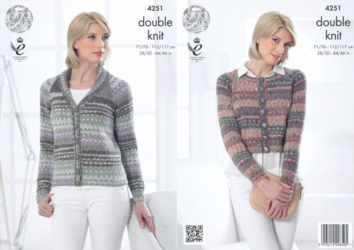 Womens Double Knitting Pattern Boxy or Collar Jacket King Cole Drifter DK 4251