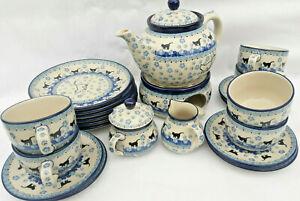 Bunzlauer Keramik Polish Pottery Katzenmotiv Teeservice für 6 Personen