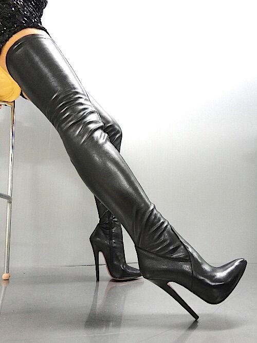 MORI OVERKNEE EXTREME HEELS ITALY STIEFEL BOOTS STRETCH LEATHER BLACK NEGRO 38