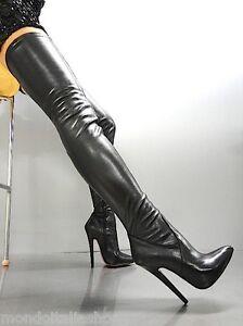 Boots Black Heels Du Italy Extreme Au Stretch Leather Dessus Stiefel Mori Genou FXwx8Pq