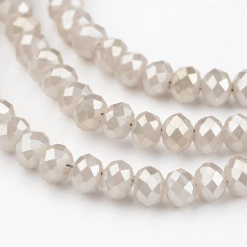 4x3mm vidrio esmerilado perlas 130-140st fädelloch 1mm blanco beige gris claro