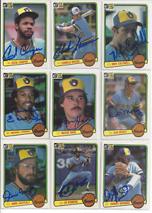 9-1983-Milwaukee-Brewers-signed-cards-Donruss-AUTO-lot-Cecil-Cooper-M-Edwards
