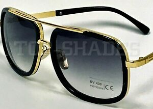 Mach-Oversized-Square-Aviator-Gold-Metal-Bar-Men-Designer-Fashion-Sunglasses-New