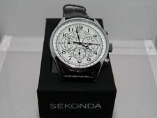 Sekonda Men's white dial Chronograph Black strap  watch, 24 hour dial, date,50m