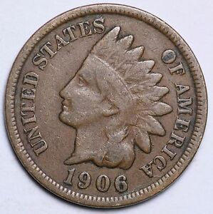 CIRCULATED GRADE GOOD 1906 INDIAN HEAD CENT PENNY VERY GOOD 95/% COPPER COIN