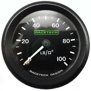 Racetech-Mechanic-Oil-Pressure-Gauge-0-100-PSI-Backlit-1-8-034-BSP-Nipple-Fitting