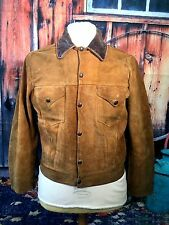 VTG 1950`S LEVI  SHORTHORN BUCKSKIN SUEDE 2 POCKET WESTERN  JACKET 40 CHEST UK